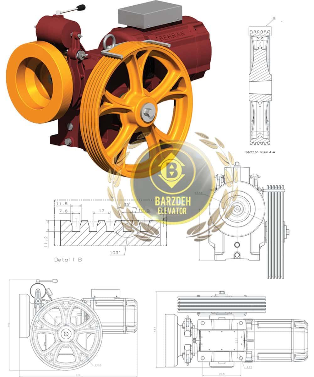 مشخصات فنی موتور آسانسور بهران خرید فروش